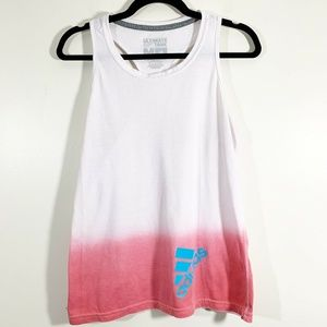 Adidas White Pink Ombre Ultimate Tank Athletic Top
